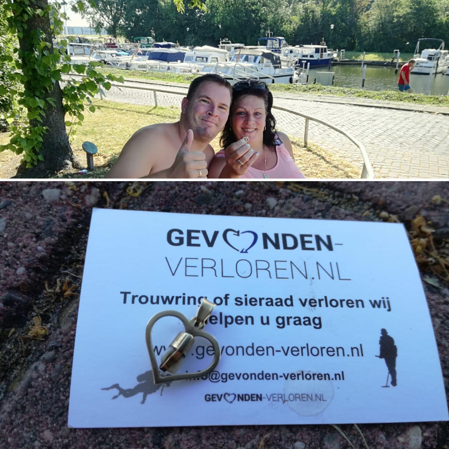 Gouden Hanger Met Tand Te Water In Haven Zwartewaal.