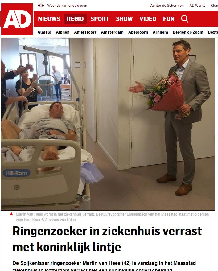 Ringenzoeker in ziekenhuis verrast met koninklijk lintje