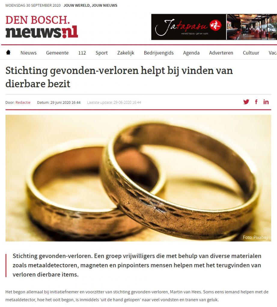 Den-Bosch Nieuws Stichting gevonden-verloren helpt bij vinden van dierbare bezit