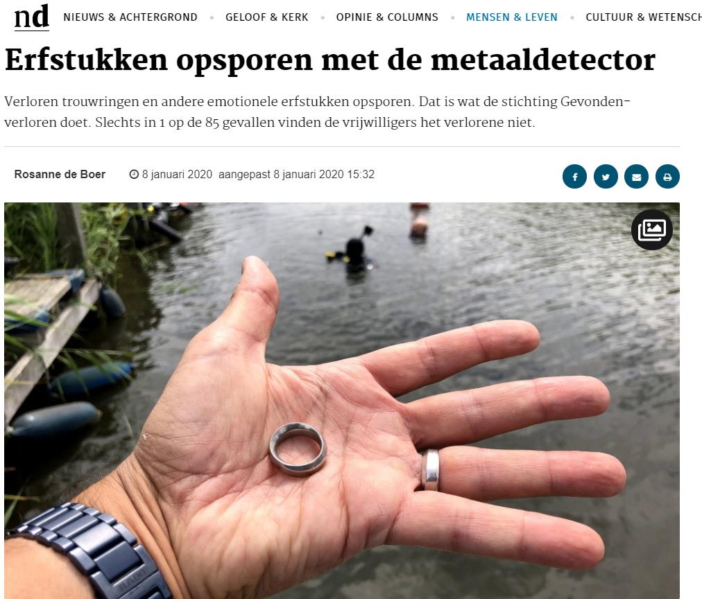 Nederlands Dagblad Erfstukken opsporen met de metaaldetector