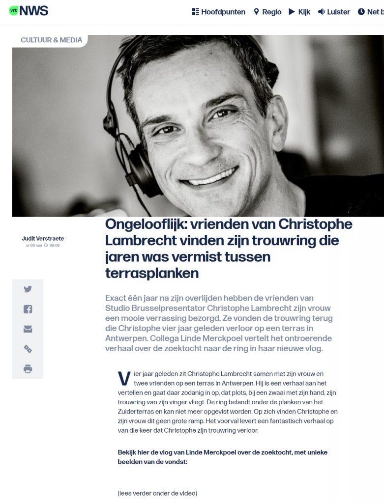 vrienden van Christophe Lambrecht vinden zijn trouwring