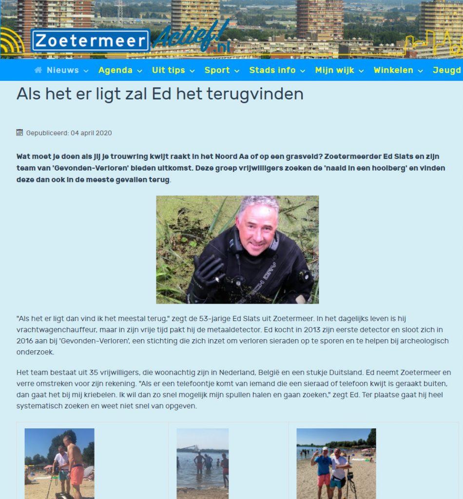 Zoetermeer nieuws Vrijwilliger Ed Slats vind alles